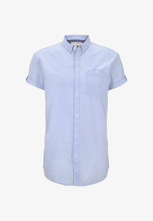TOM TAILOR DENIM BLUSEN & SHIRTS STRUKTURIERTES KURZARMHEMD MIT  - Shirt - light blue slub stripe