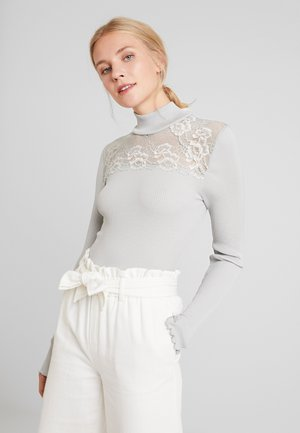 SILK-MIX T-SHIRT TURTLENECK REGULAR LS W/LACE - Top s dlouhým rukávem - puritan grey
