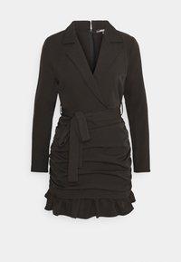 Missguided Petite - RUCHED FRILL BLAZER DRESS - Cocktailkjole - black - 0