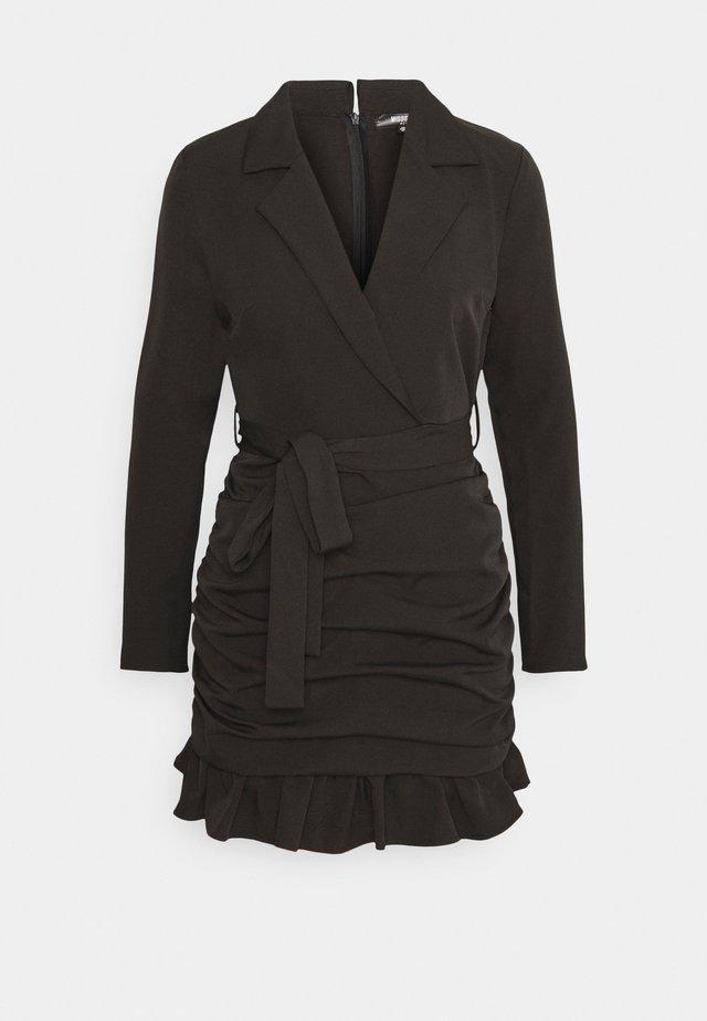 RUCHED FRILL BLAZER DRESS - Cocktailjurk - black
