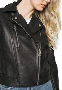 Marc O'Polo - JACKET BIKER STYLE SHORT LENGTH DROPPED SHOULDER - Leather jacket - black - 5