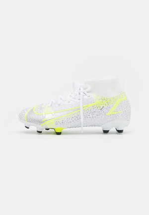 MERCURIAL 8 ACADEMY MG UNISEX - Moulded stud football boots - white/black/metallic silver/volt