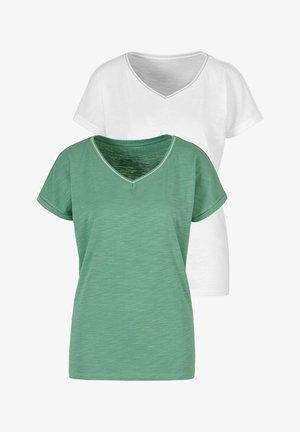 2-PACK - Basic T-shirt - mint, creme