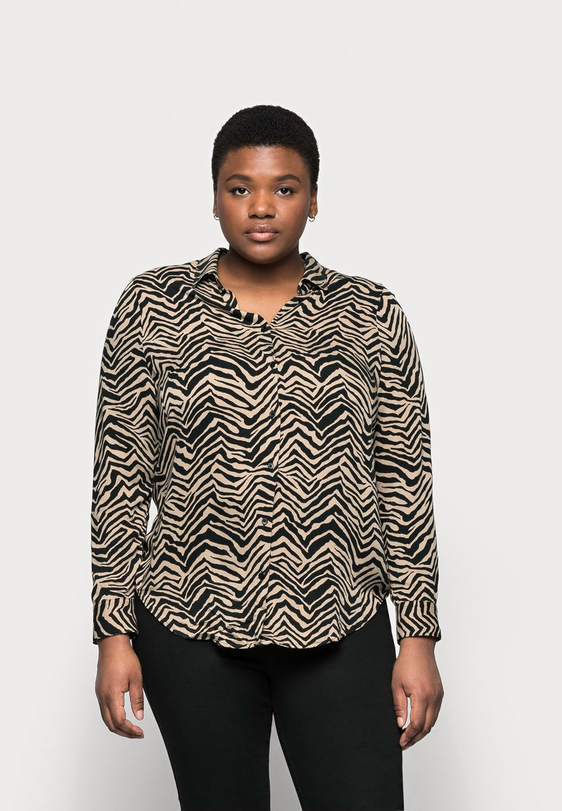 Marks & Spencer London - ZEBRA SPUN - Button-down blouse - black