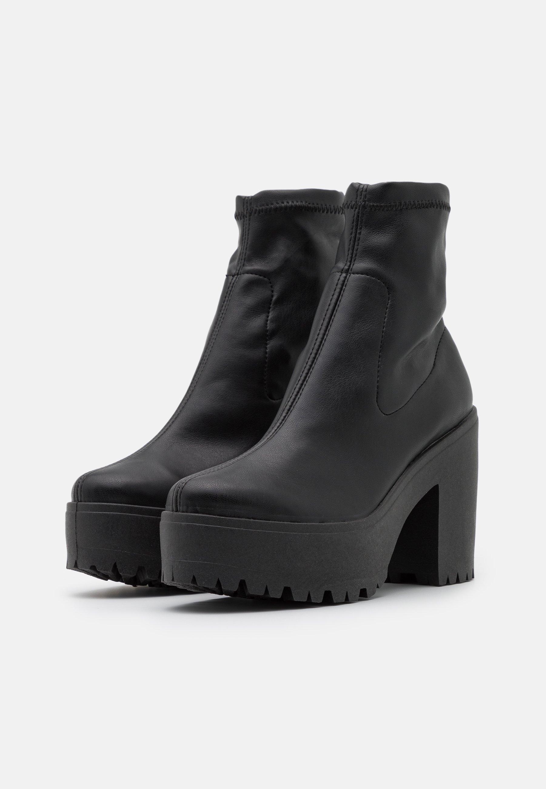 Topshop SOCK BOOT Plateaustiefelette black/schwarz
