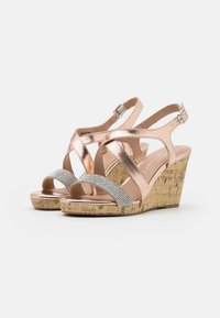 New Look Wide Fit - WIDE FIT SUNSHINE BLING MULTISTRAP WEDGE - Sandály na vysokém podpatku - rose gold - 2
