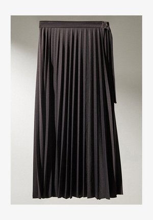 MIT SCHNALLE  - Pleated skirt - dark blue