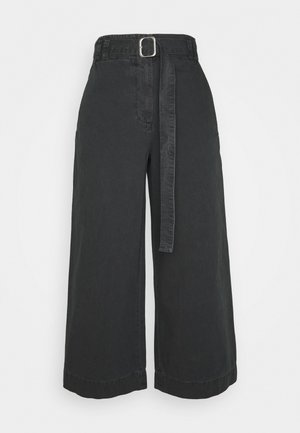 WASHEDBELTED PANT - Bukse - black
