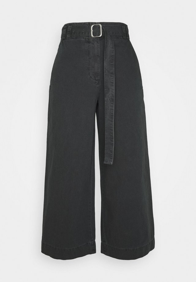 WASHEDBELTED PANT - Trousers - black