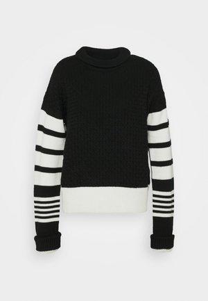 LOOSE MOCK NECK GUERNSEY - Pullover - black