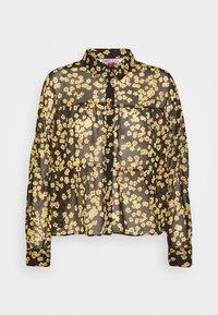 GATHER DETAIL BLOUSE - Button-down blouse - black/yellow
