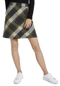TOM TAILOR - A-line skirt - black yellow check knitted - 0