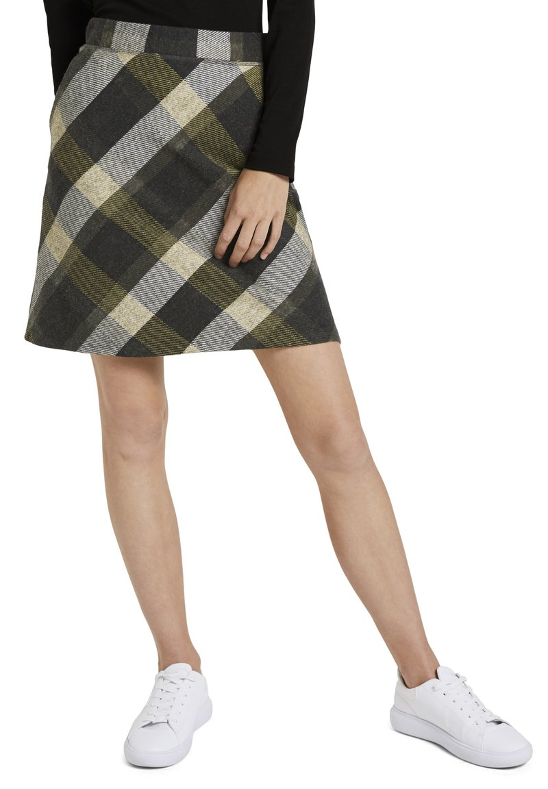 TOM TAILOR - A-line skirt - black yellow check knitted
