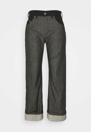 WIDE TUBE MIXED FABRIC - Straight leg jeans - black denim