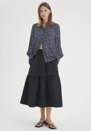 Button-down blouse - blue multicolour dot