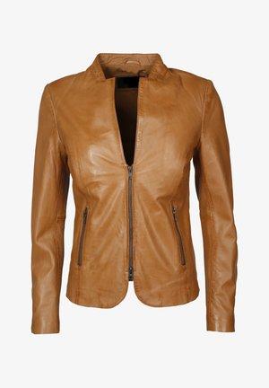 MIT KURZEM REISSVERSCHLUSS LIDA - Leather jacket - cognac