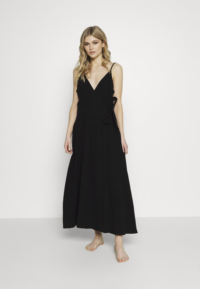 BEACH EDIT DOUBLE CLOTH WRAP DRESS - Strandaccessories - black