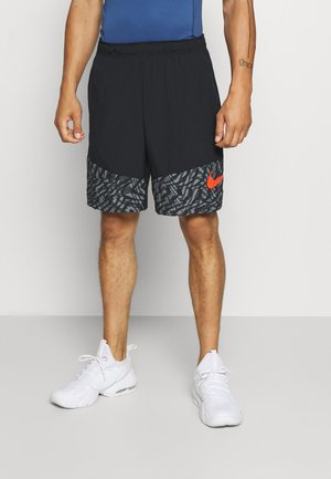 SHORT - Träningsshorts - black/team orange
