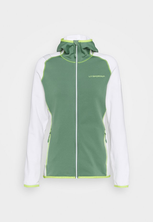 ALARIS HOODY - Fleecetakki - grass green/white
