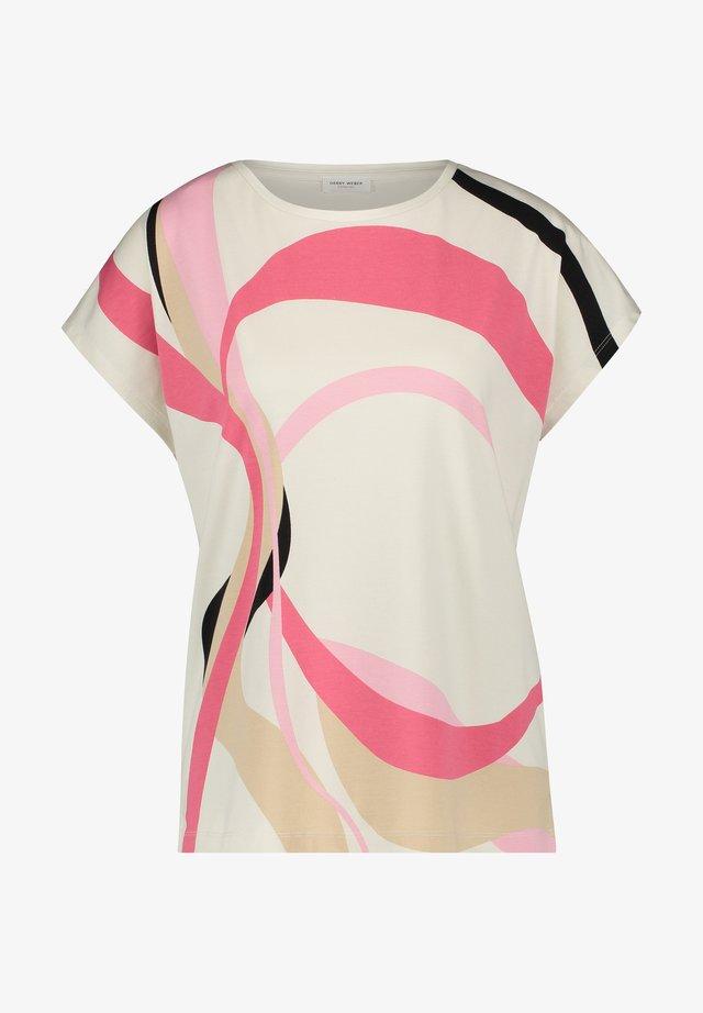 T-shirt print - ivory/ rosa/ peony druck