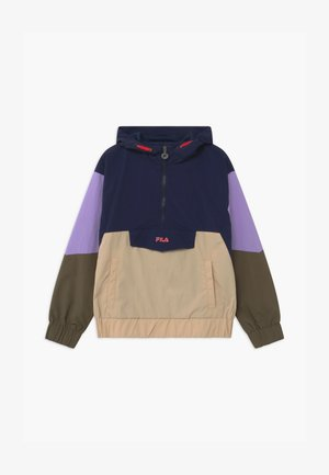TILLI BLOCKED HOODED  - Training jacket - black iris/irish cream/sand verbena/grape leaf