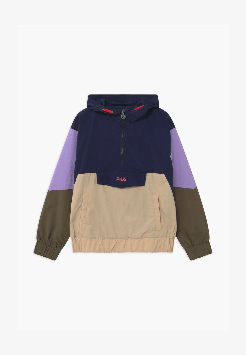 Fila - TILLI BLOCKED HOODED  - Training jacket - black iris/irish cream/sand verbena/grape leaf
