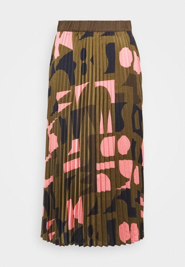SKIRT - Plisovaná sukně - mottled olive