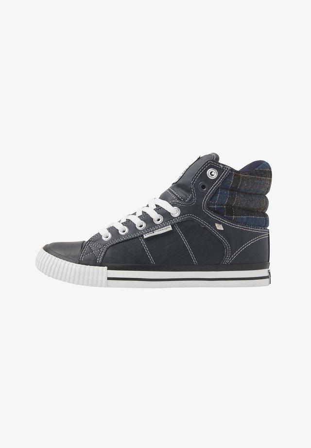 SNEAKER ATOLL - Höga sneakers - navy/dk grey checker