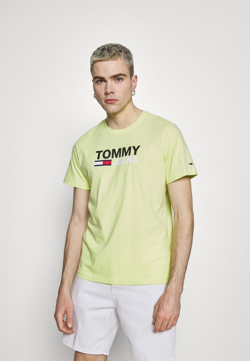 Tommy Jeans - CORP LOGO TEE - Print T-shirt - neon yellow