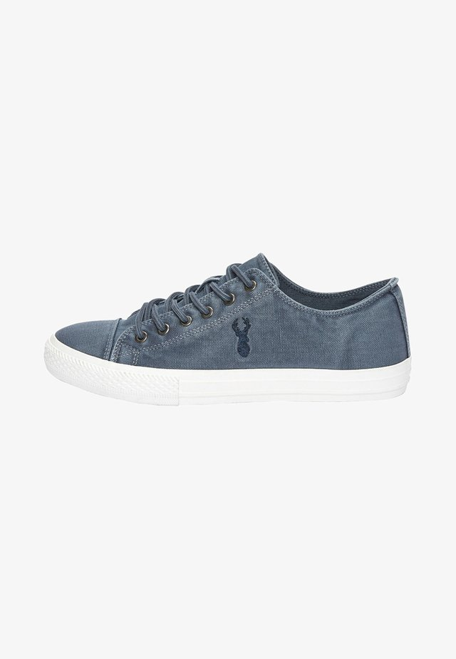 NAVY WASHED CANVAS STAG PUMPS - Baskets basses - blue