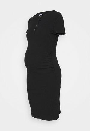 MATERNITY HENLEY SHORT SLEEVE DRESS - Strikkjoler - black