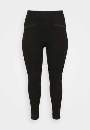TRIM PONTE - Leggings - black