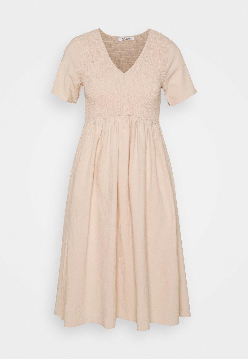 Glamorous - SMOCKED MIDI DRESSES WITH SHORT SLEEVES LOW V NECK - Day dress - stone