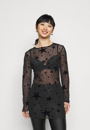 STAR FLOCKED BODYCON DRESS - Cocktail dress / Party dress - black