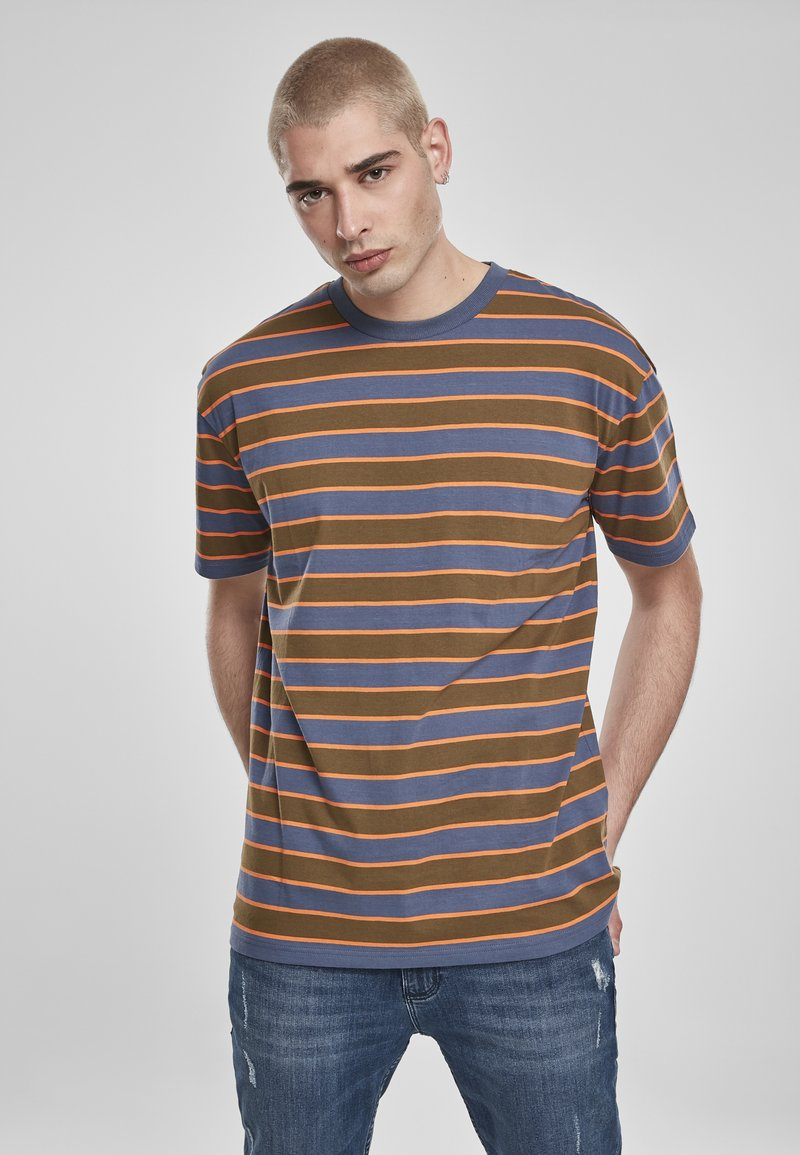 Urban Classics - YARN DYED BOARD STRIPE - T-shirts basic - summerolive/vintageblue