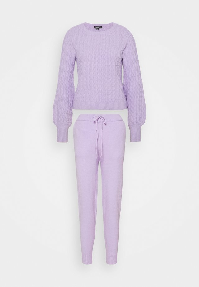 TEXTURED JUMPER AND JOGGER SET - Maglione - lilac