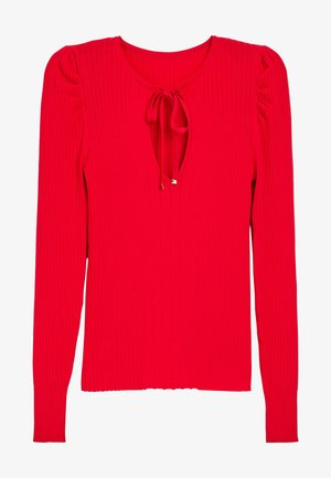 TIE NECK RUCHED SLEEVE - Pullover - red