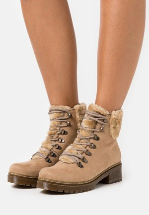 Lace-up ankle boots - nude