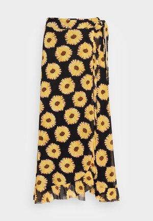 BOBO FRILL SKIRT - Wrap skirt - black/saffron
