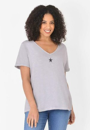 WITH EMBELLISHED STAR - Print T-shirt - light grey