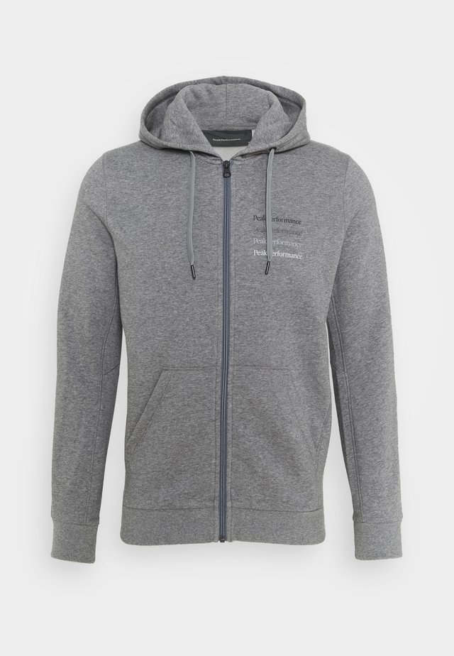 GROUND ZIP HOOD - Sweatjacke - grey melange