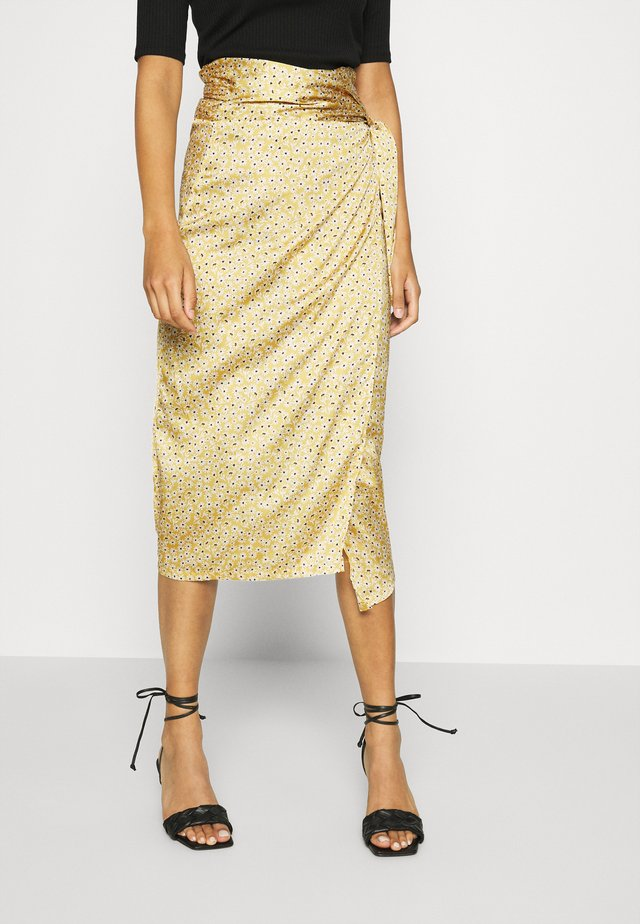 JASPRE DITSY PRINT SKIRT - Jupe portefeuille - gold