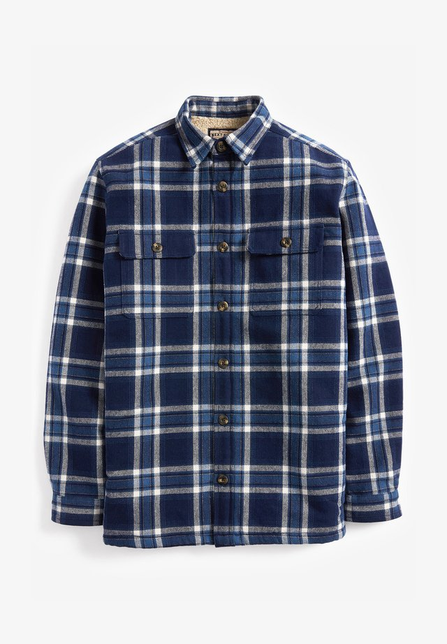 CHECK BORG LINED TWIN POCKET SHACKET - Shirt - blue