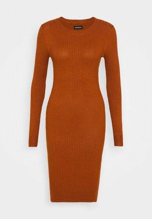 Knitted jumper mini high neck dress - Shift dress - brown