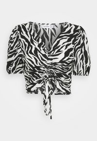 Missguided - ZEBRA RUCHED BLOUSE - Blouse - white - 0