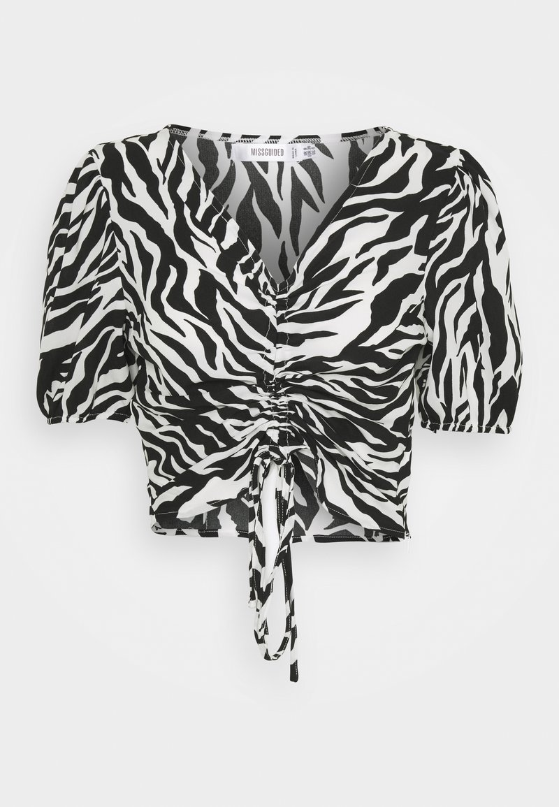 Missguided - ZEBRA RUCHED BLOUSE - Blouse - white