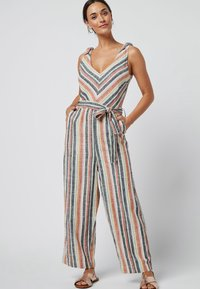 Next - MULTI STRIPE LINEN BLEND TIE SHOULDER JUMPSUIT - Jumpsuit - orange - 0