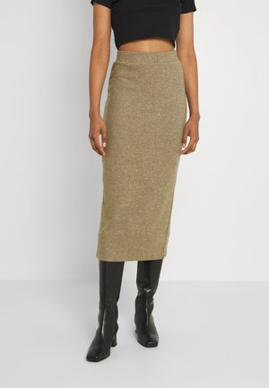 VILANO MIDI SLIT KNIT - Pencil skirt - dark olive