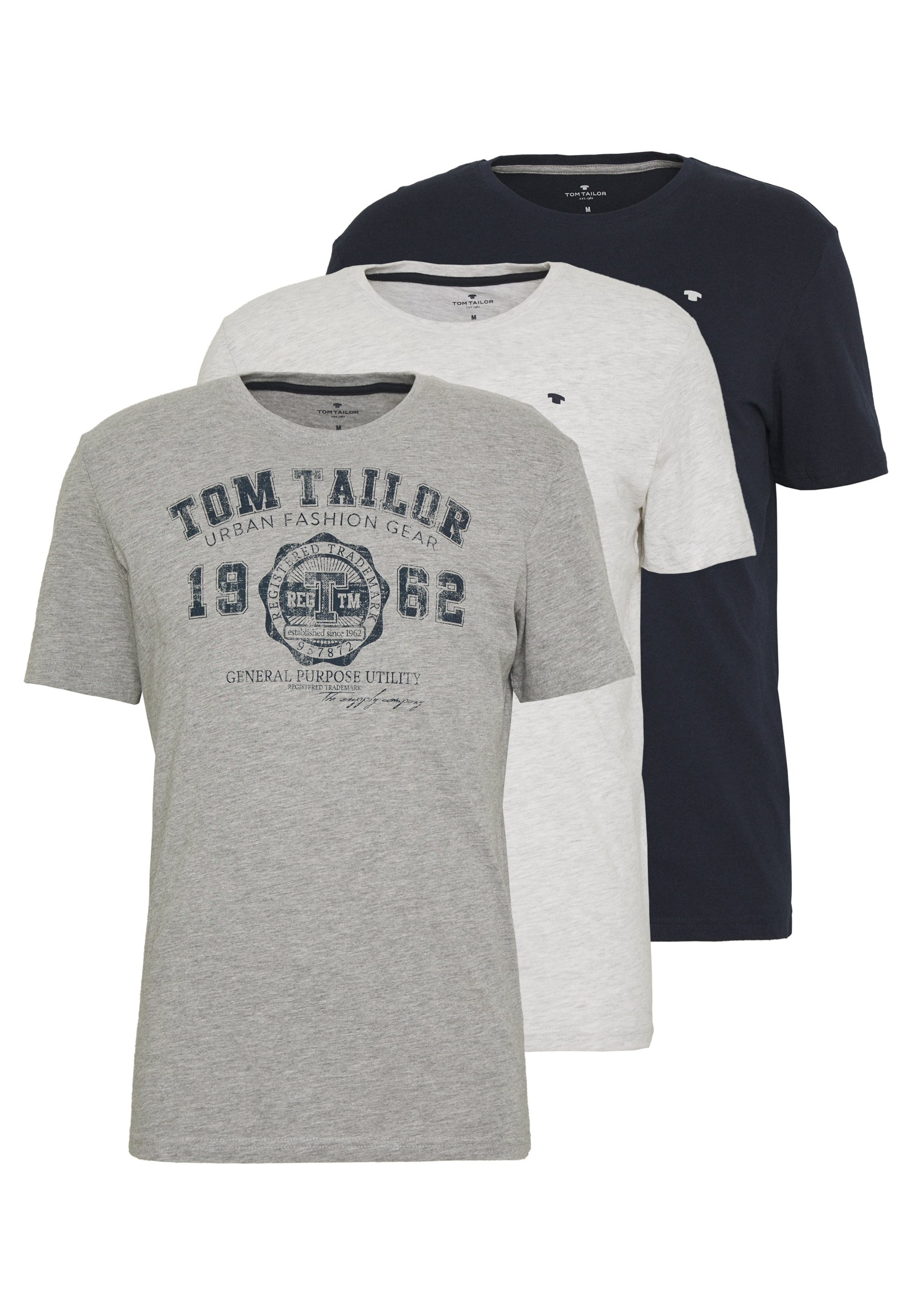 Men BASIC T-SHIRT 3 PACK - Print T-shirt - middle grey melange