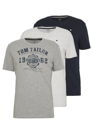 BASIC T-SHIRT 3 PACK - Print T-shirt - middle grey melange